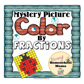 Mystery Pictures - Color by Fractions - 20 Worksheets with