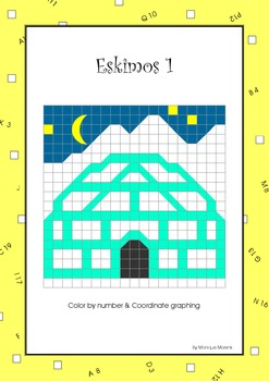 Mystery Pictures: Color by number & Coordinate graphing – Eskimos 1: Igloo