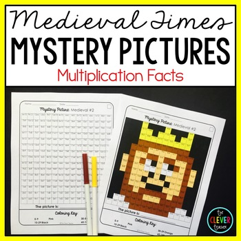 Mystery Pictures Multiplication Medieval - Multiplication Facts