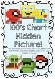 100's Chart Hidden Pictures- Popular Children's Characters!