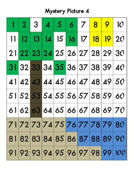 Mystery Pictures – Summer Edition - Math 100 Chart Numbers