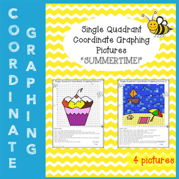 "Mystery Pictures ""Summertime"" (Single Quadrant Coordinate Graphing Pictures)"