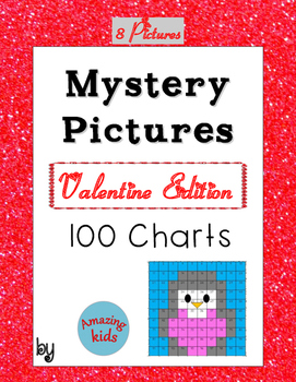Mystery Pictures – Valentine Edition - Math 100 Chart Numbers