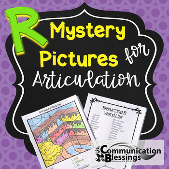 No Prep Color by Code Articulation Pictures & Word Lists for R in all positions