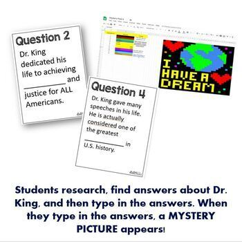 Mystery Pixels- Martin Luther King Research Activity Google Sheets™ & Classroom™
