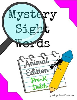 Mystery Pre-K Dolch Sight Words - Animal Edition
