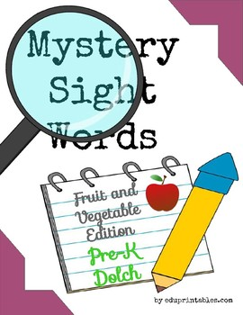 Mystery Pre-K Dolch Sight Words - Fruit and Vegetable Edition