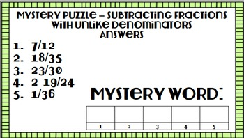 Mystery Puzzle - Adding and Subtracting Fractions with Unlike Denominators