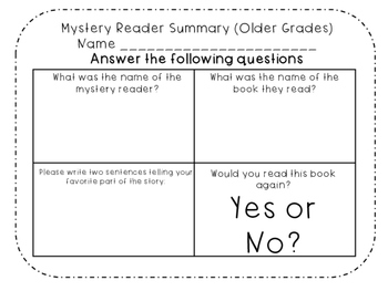 Mystery Readers Packet