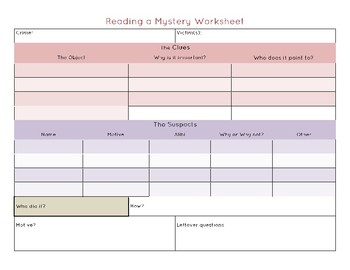 Mystery Story Organizer Worksheet for Reading and Solving Mysteries