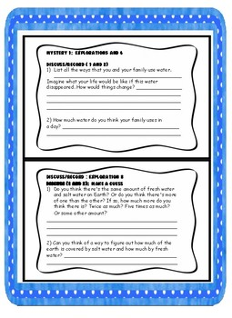 """Mystery Science Note-taking Guide for """"Watery Planet"""" mystery 1"""