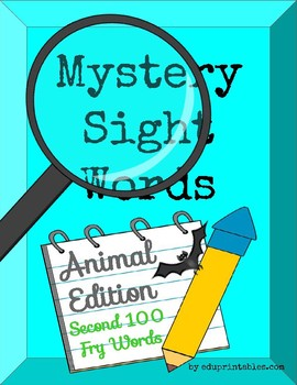 Mystery Second 100 Fry Sight Words - Animal Edition