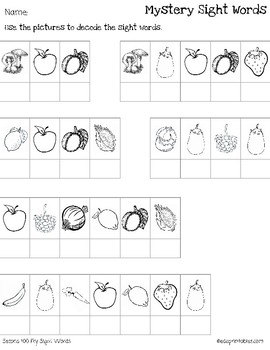 Mystery Second 100 Fry Sight Words - Fruit and Vegetable Edition