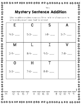 Mystery Sentence Addition and Subtraction