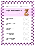 Mystery Sentences Sight Word Match Worksheet