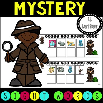 Mystery Sight Word Game for Work Stations - 4 letter words