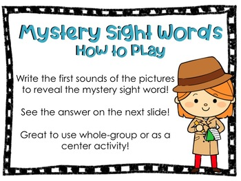 Mystery Sight Word Interactive Game *Kindergarten Journey's Lesson16