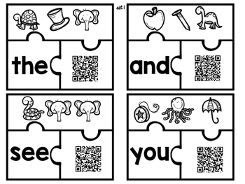 Mystery Sight Word Puzzles with QR Codes for Self-Correcting