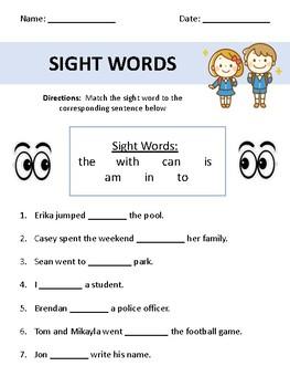 First grade sight word sentences worksheets