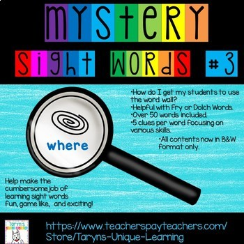 Mystery Sight Words #3