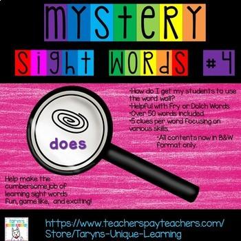 Mystery Sight Words #4