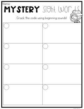 Mystery Sight Words Preprimer