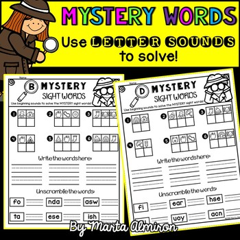 Mystery Sight Words - Use Beginning Sounds to Solve!