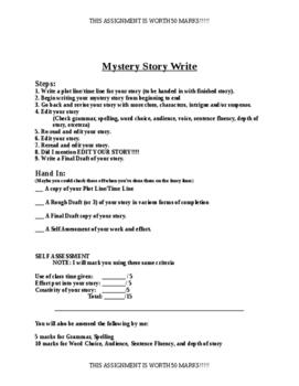 Mystery Story Write