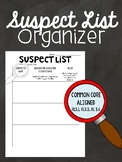 Mystery Suspect List - Reason Character is Suspicious and Alibi