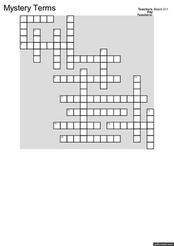 Mystery Terms Crossword