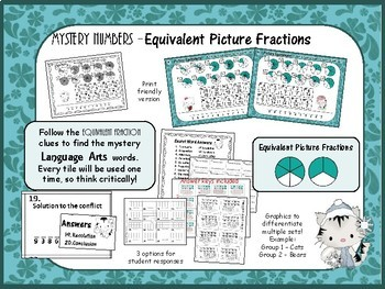 Mystery Tile EQUIVALENT picture Fraction Game
