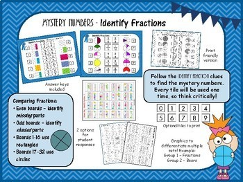 Mystery Tile IDENTIFY fractions Game