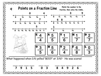 Mystery Tile POINTS on a Line Fraction Game