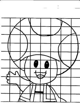 Mystery Toad Mario Grid Drawing