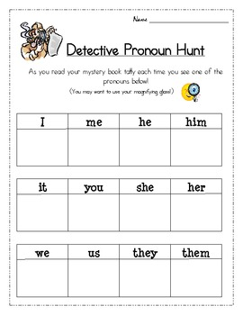 Mystery Unit - Pronoun Hunt