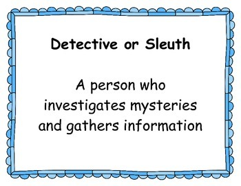 Mystery Unit Vocabulary