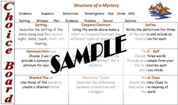 Mystery Vocabulary Choice Board