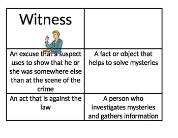 Mystery Vocabulary Words