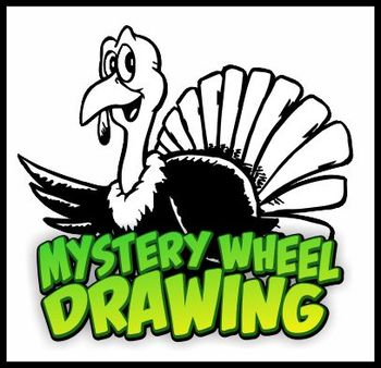 Mystery Wheel Drawing Art Worksheet - Simple Turkey