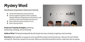 Mystery Word Activity for Vocabulary Acquisition