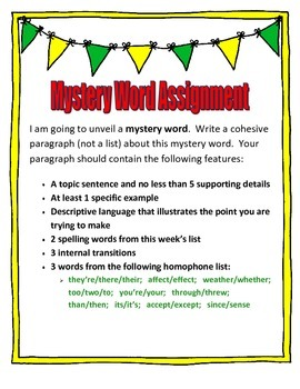 Mystery Word Assignment