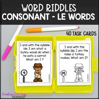Consonant-le Phonics Riddles Word Work