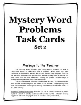Mystery Word Problem Task Cards set 2