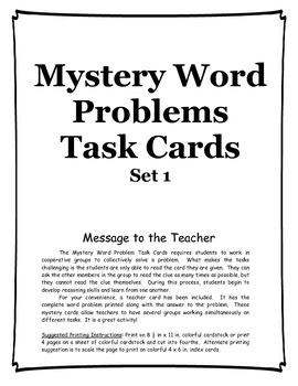 Mystery Word Problems Task Cards set 1