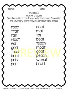 Mystery Word: Vowel Digraphs