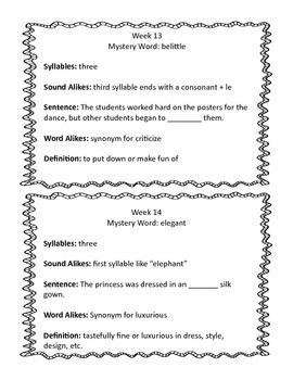 Mystery Word Weeks 13-24
