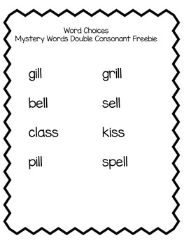 Double Consonants Mystery Words FREE