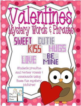 Valentines Mystery Pictures Words & Phrases Vowels Consona