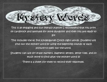 Mystery Words Pre Kindergarten