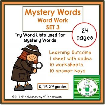 Mystery Words: SET 3 (Kinder/1st/2nd grades)